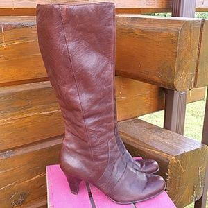 Born tall leather heel boots size 11